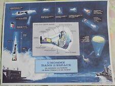 Ancien Document Carte l'Homme dans l'Espace va et en revient Vintage 1970 + ou -