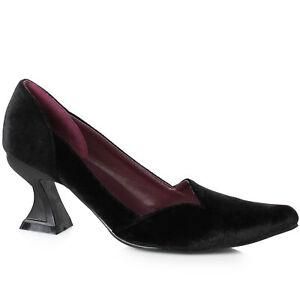 Ellie 301-VIVIAN Women's Black Velvet Goth Witch Victorian Costume Heel Shoe