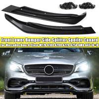 2x Untere Stoßstange Seitenteiler Spoiler Canards Schwarz Für Benz AMG A45 2016