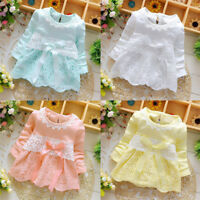 Baby Girls Long Sleeve Party Lace Dress Bow Princess Dress Sundress Clothes N