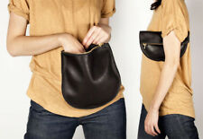 BAGGU HANDMADE OVERSIZED POUCH WITH NATURAL MILLED LEATHER BRASS ZIPPER BLACK