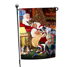 Sheltie Dog and Puppies Sleeping with Santa Garden Flag