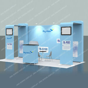 20ft Fabric Trade Show Display Windline Modular Booth Set with Lights Counter