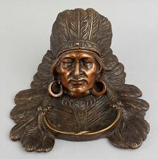 Large Antique Western Native American Indian Chief Solid Bronze Desktop Inkwell