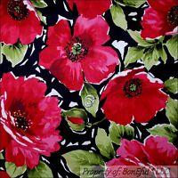BonEful Fabric FQ Cotton Quilt Black Red Green Xmas Decor Large Flower Leaf Tone