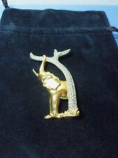 Swarovski Jewelry ELEPHANT w/TREE Gold Tone w/Pave Set Clear Crystals-1993 SCS