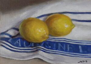 """Lemons"" original fine art still life oil painting by Xiaomei Griffiths"