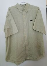 Chaps Easy Care Men's Shirt Yellow White Navy Plaid XXL Button Down Short Slv