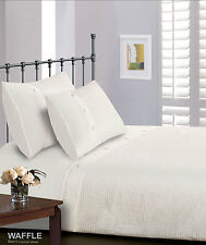 Luxury Button Waffle Square Ribbed Duvet Cover Bedding Set - 4 Sizes 2 Colours King White