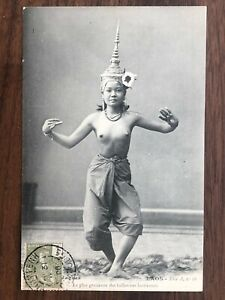 SOUTHEAST ASIA CAMBODIA OLD POSTCARD NAKED NUDE DANCING GIRL CAMBODGE 1908 !!