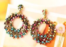 Ethnic Boho Ladies New Jewelry Round Drop Dangle Rhinestone Long Earrings