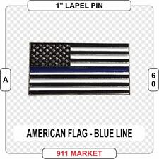 American Flag Lapel Pin with Thin Blue Line Memorial US Police Sheriff LEO  A 60