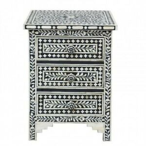 Bone Inlay Bedside Cabinet Table Black Floral (MADE TO ORDER)