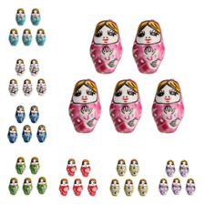 10Pcs Porcelain Ceramics Russian Nesting Doll Loose Beads 2.2mm Hole 22x13mm