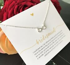 Bridesmaid Infinity Necklace 925 Sterling p Infinite Jewellery Forever message