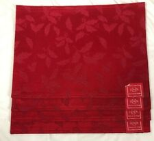 4 Lenox Red Holly Damask Placemats Christmas Holiday Rectangular Place Mats