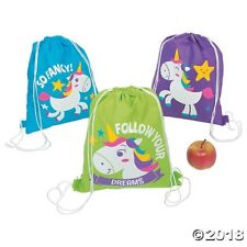 "12 Unicorn Drawstring Backpacks Bags BIG 15"" FAIRYTALE Birthday Party Favors"