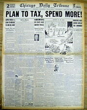 1941 headline newspaper DEMOCRATIC PARTY plans to TAX & SPEND MORE as POLICY