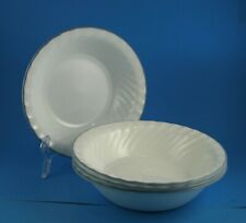"""4 Corelle 7.25"""" Cereal Bowls Scalloped; Grey Stripe; English Meadow, Pink Trio"""