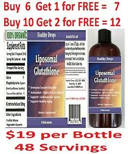 "LIPOSOMAL GLUTATHIONE ""48 Servings"" 1000mg/oz 100% ORGANIC NO SOY 8oz Exp 2019"