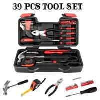 Portable 39pcs Red Basic Tool Set Household Mechanics Tool Kit with Carry Box