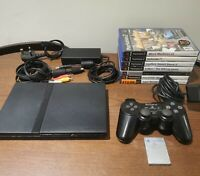 Slim PS2 Sony Playstation 2 Console & 7 Games, Controller, Memory Card & Leads!