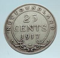 1917 CANADA SILVER 25 CENTS UK King George V Newfoundland Antique Coin i76208