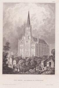 Die neue Au - Kirche München. Stahlstich Hildburghausen um 1850. Nach C.Reiss