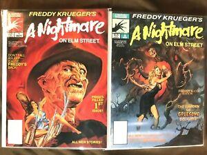 FREDDY KRUEGER'S A NIGHTMARE ON ELM STREET #1 & #2 1989 Horror MARVEL RARE