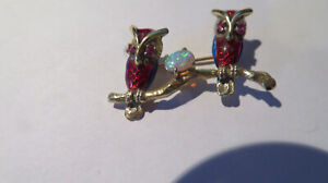 Opal Ruby Enamel Owl 14k Gold Pin-Brooch