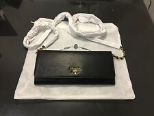 NWT Prada Wallet on a Chain Borsa Portafoglio Nero Black Vitello Move 1MT290