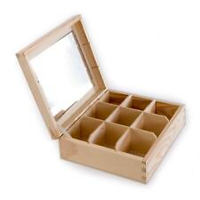 Wooden 8 Compartments Box with Mirror | Decorative Trinket Keepsake Storage Case