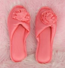 Vtg New Nancy King Pink Nylon Cushioned Slide On Peep Toe Slippers sz S 5-6