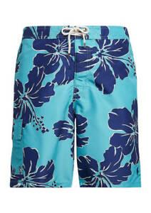 "Polo Ralph Lauren Men's Kailua  8 1/2"" Inseam Board Shorts Green/Blue Size M NWT"