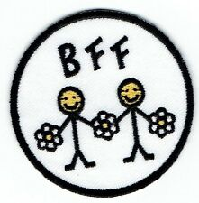 Iron On Embroidered Applique Patch - BFF Emoji Best Friends Daisy Flowers