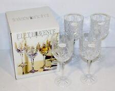 4 Crystal PORTICO 10 oz Wine Goblets OPEN BOX UNUSED sticker issue FIFTH AVENUE