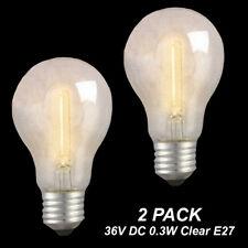 2 x Low Voltage 36V 0.3W LED Vintage Clear Filament Light Globes / Bulbs E27 A60