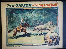 1929 THE LONG, LONG TRAIL - HOOT GIBSON SILENT WESTERN - RARE VINTAGE LOBBY CARD