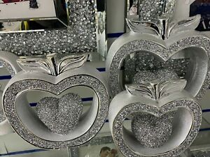 3X Silver Crushed Diamond Sparkling Apple Show Piece For Home Kit Valentine Guft
