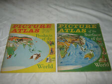 A Pair of Vintage 1960 Children's Educational Picture Atlas Of The World