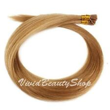 100 Stick I Pre Bond Glue Tip Straight Remy Human Hair Extension Dark Blonde #12