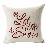 "Snowflakes Merry Christmas Gift flax Throw Pillow Case Cushion Cover 18X18"" U3K7"