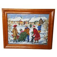 """Needlepoint Winter Christmas Picture Handmade Completed  9.75 x 12"""" Framed"""
