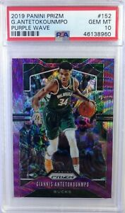 2019 Panini Prizm Purple Wave Giannis Antetokounmpo #152, Graded PSA 10, Pop 24
