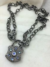 Antiqued Sterling Silver, Moonstone and Diamond pendant padlock clasp BEAUTIFUL