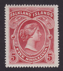 Falkland Islands. 1898. SG 42, 5/- red. Fine mounted mint. Cat £250.