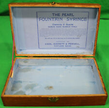 Original Vintage Wooden Pearl Fountain Syringe Box w/Directions