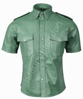 Mens HOT Genuine Real ARMY GREEN Sheep Leather Police Uniform Shirt BLUF Gay