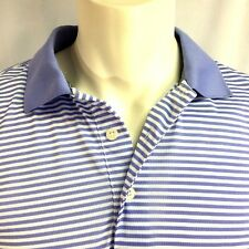 Faldo Men's 3 Button Polo Golf Shirt White with Light Purple Stripes M S6