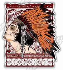 "Native American Chief Indian Girl Gift Idea Car Bumper Vinyl Sticker Decal 4""X5"""